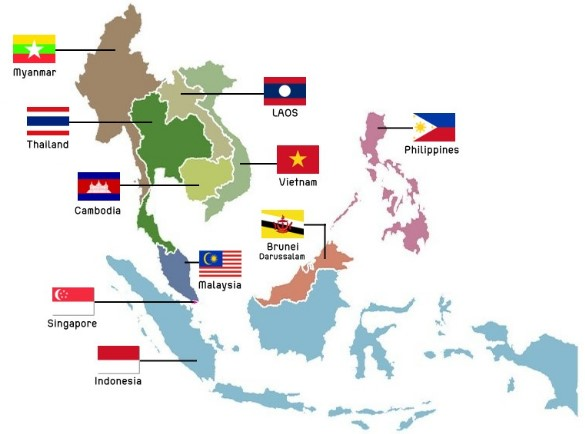 Countries in the ASEAN group on a map that can participate in the EUSFTA trade