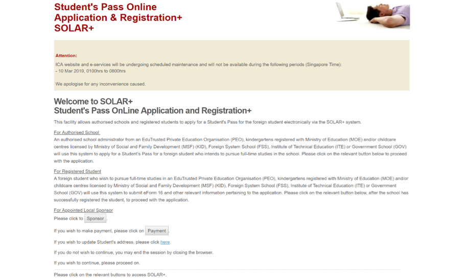 Student's Pass Online Application & Registration + SOLAR+